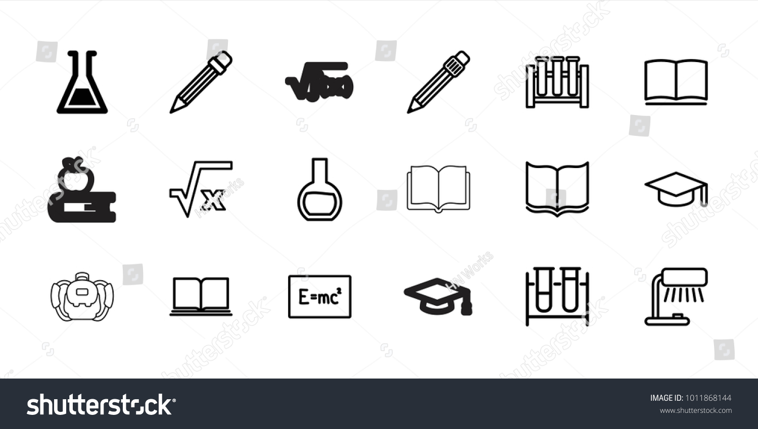 Study Icons Set 18 Editable Outline Stock Vector 1011868144 ...