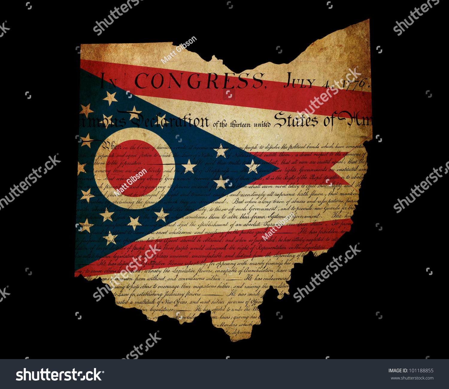 Usa American Ohio State Map Outline With Grunge Effect Flag Insert And Declaration Of Independence Overlay