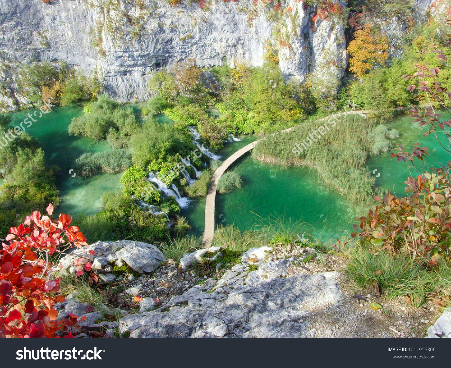 Scenic Areal View of Plitvice Lakes National Park, Croatia, the UNESCO World Heritage