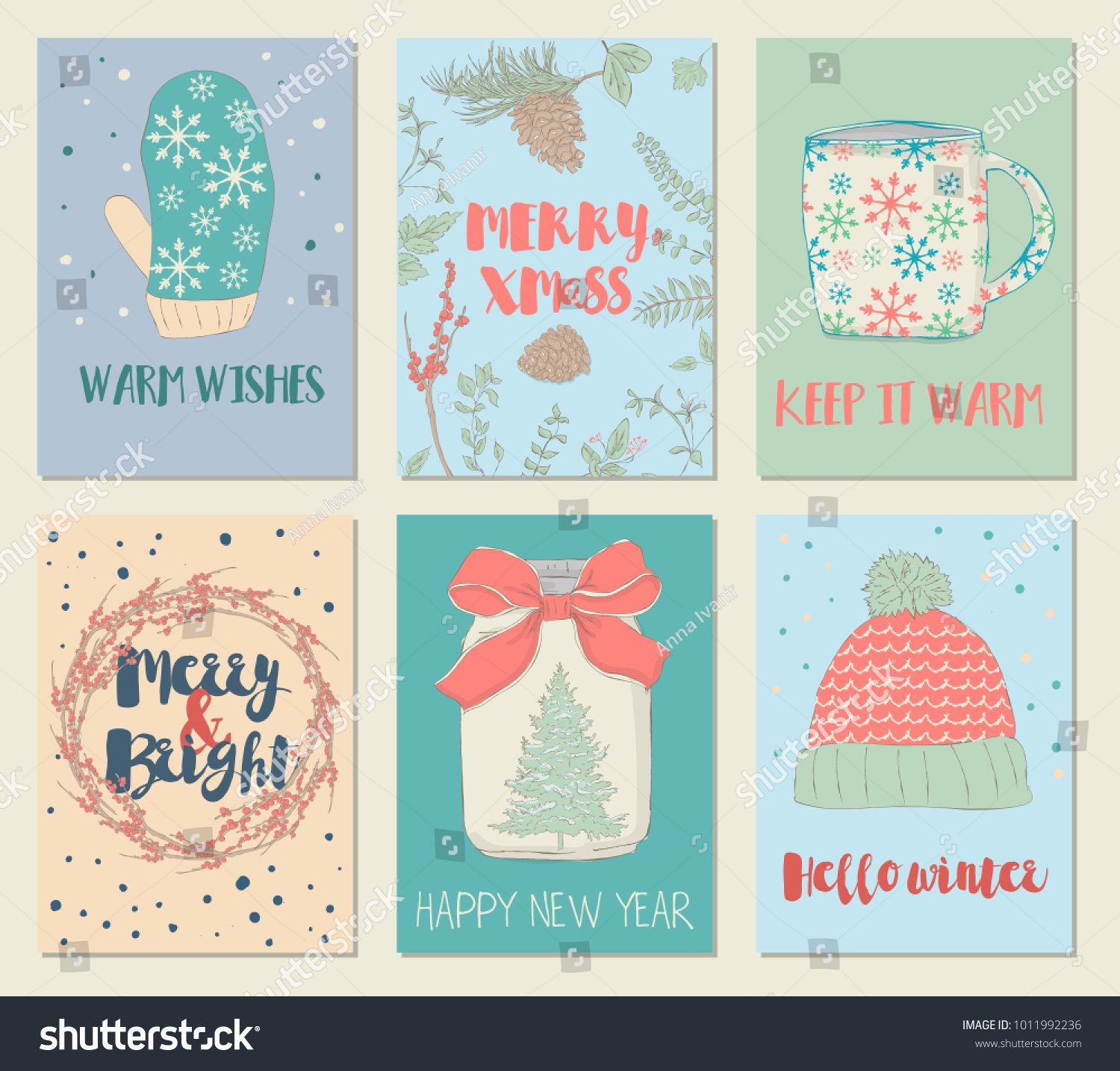 Illustrated Christmas Greeting Cards Set Hand Drawn Stock Vector