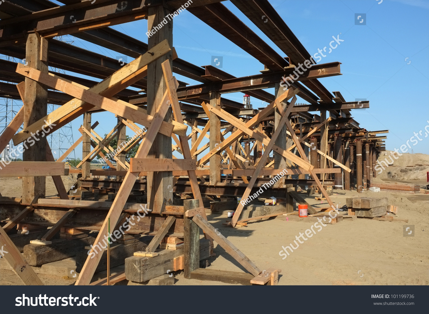 Portable Bridge Construction : Bridge construction project temporary wood bracing and