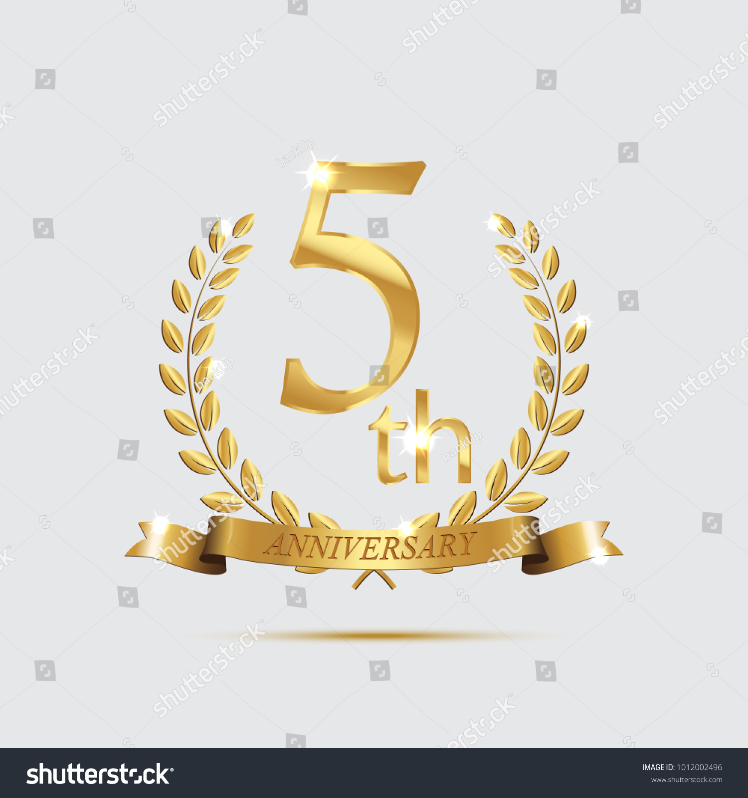5th anniversary golden symbol golden laurel stock vector 5 th anniversary golden symbol golden laurel wreaths with ribbons and fifth anniversary year biocorpaavc Gallery