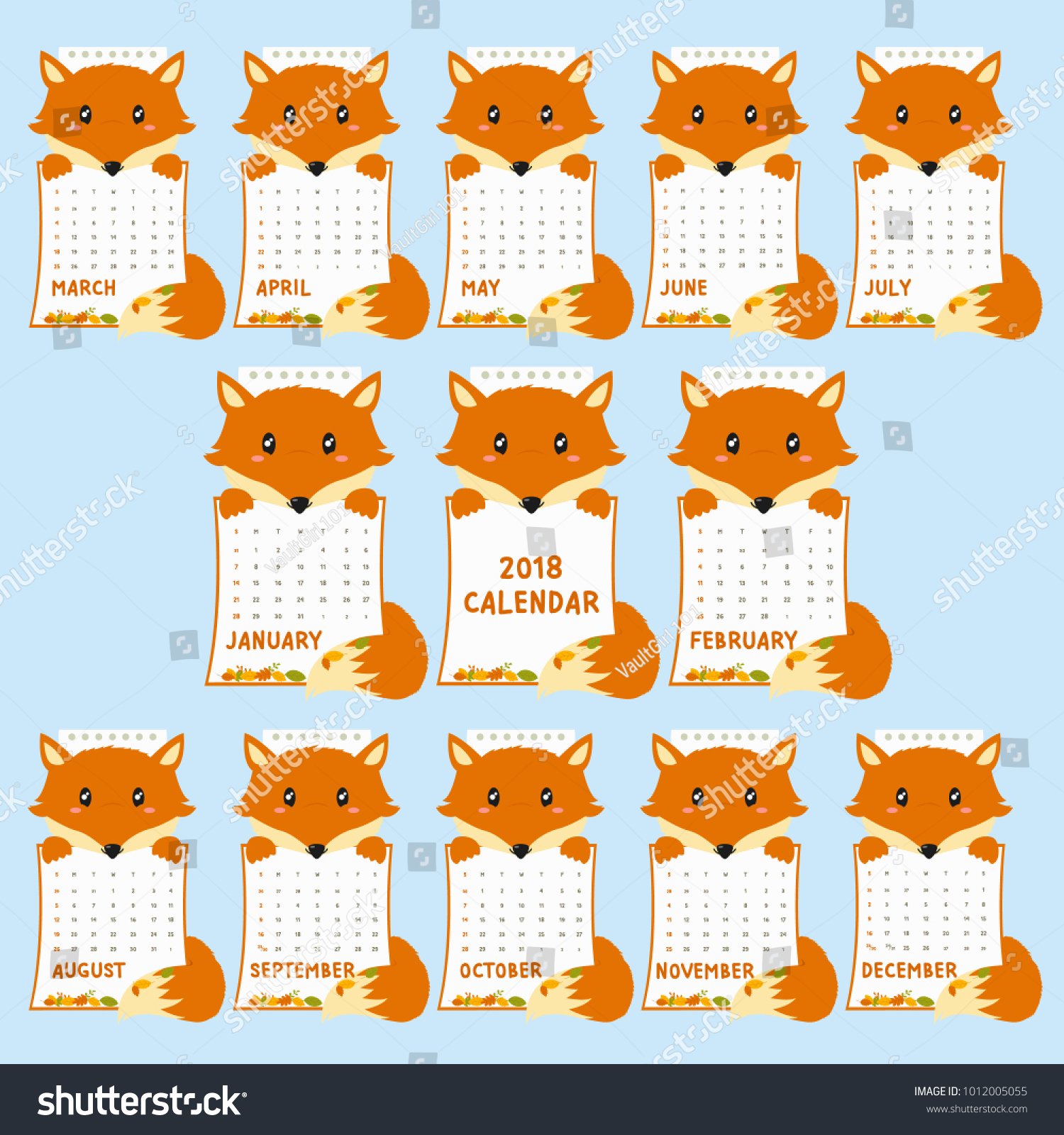 2018 Calendar Template Animal Shaped Cute Fox Holding With Autumn Leaves