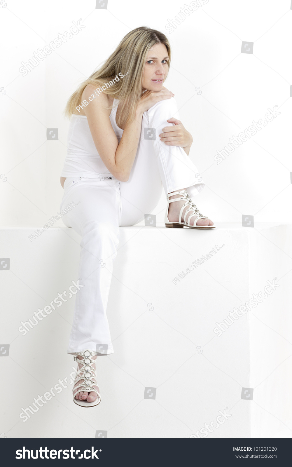 72e3a9c6b Sitting Woman Wearing White Clothes Sandals Stock Photo (Edit Now ...