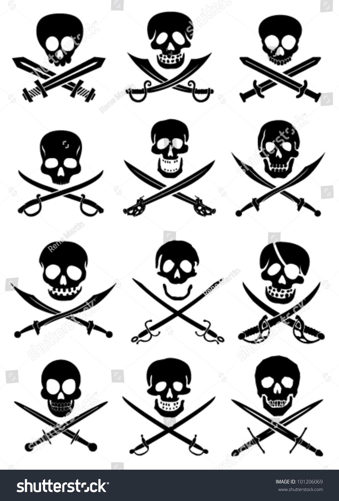 Crossed swords skulls vector collection white stock vector for Crossed swords tattoo