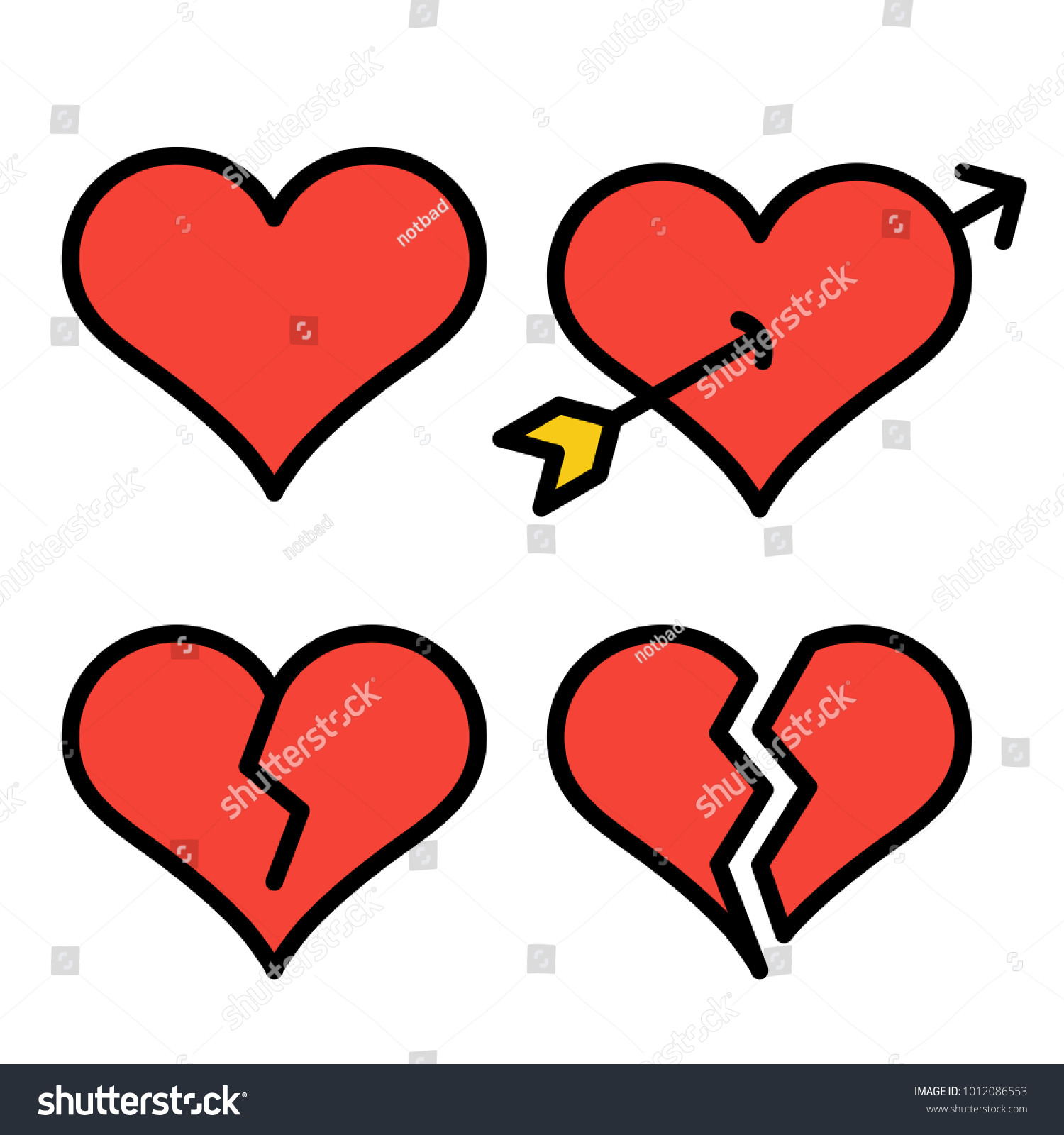 Set red outline broken heart icons stock vector 1012086553 set of red outline broken heart icons isolated on white background line love pictograms biocorpaavc Images