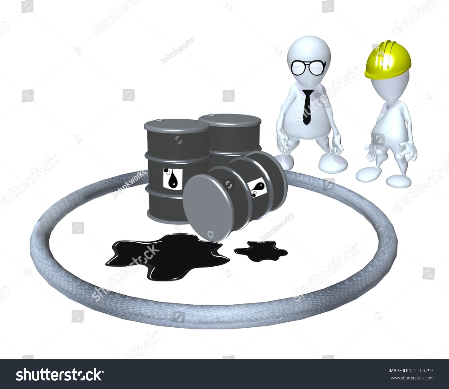 3d Man Hazardous Material Oil Spill Stock Illustration 101209297 ...