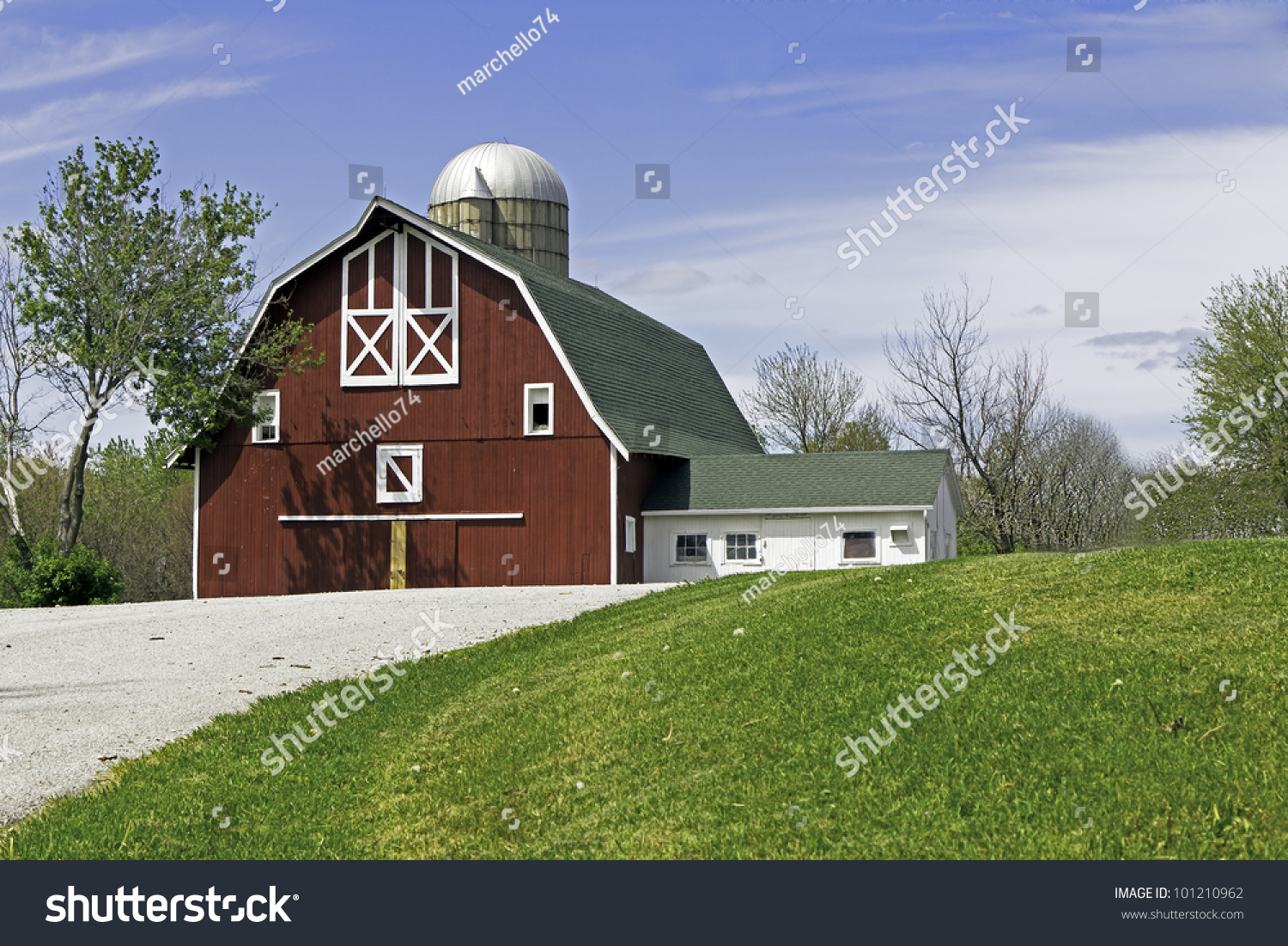Old American Farm On Sunny Day