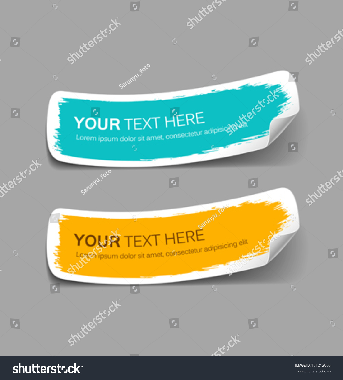 Colorful Label Paper Brush Stroke Vector Stock Vector 101212006 ...