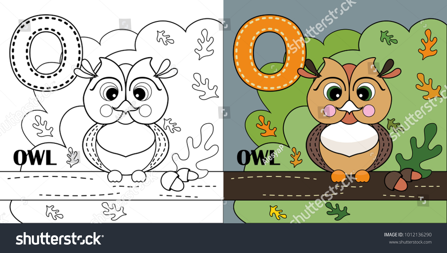 O Letter Owl Coloring Book Page Stock Vector 1012136290 - Shutterstock