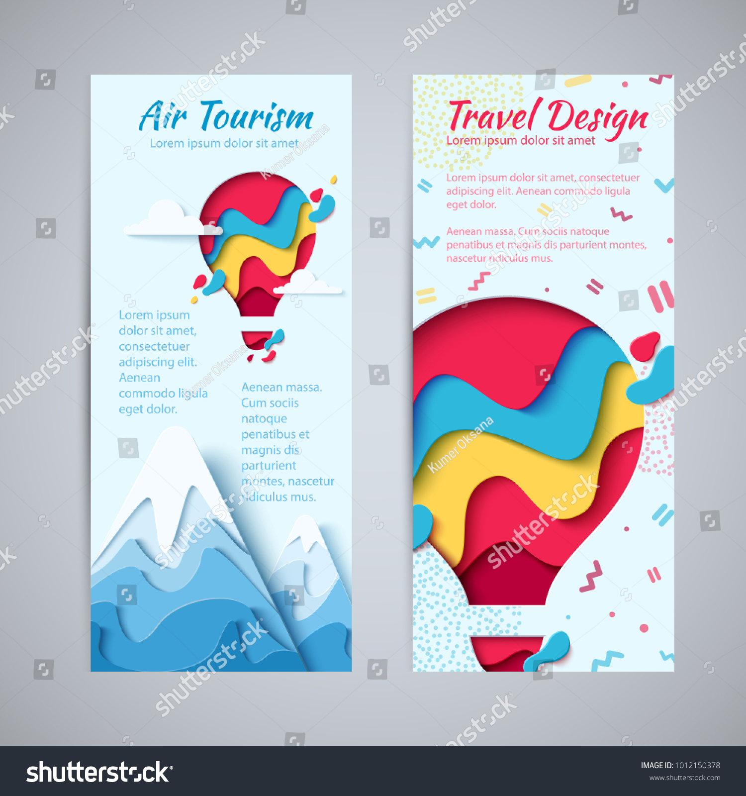 Travel Design Flyer Template Set Paper Stock Vector Royalty Free