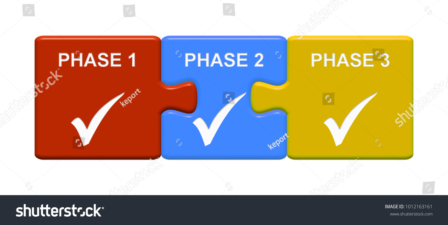 Three Puzzle Buttons Tick Symbol Showing Stock Illustration