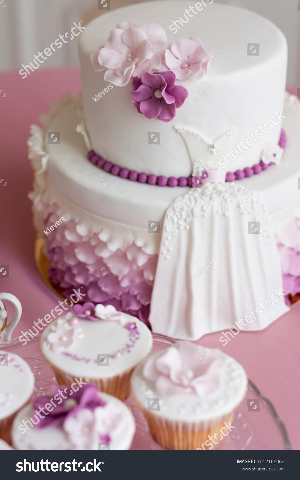 White Wedding Cake Purple Pink Flowers Stock Photo Edit Now