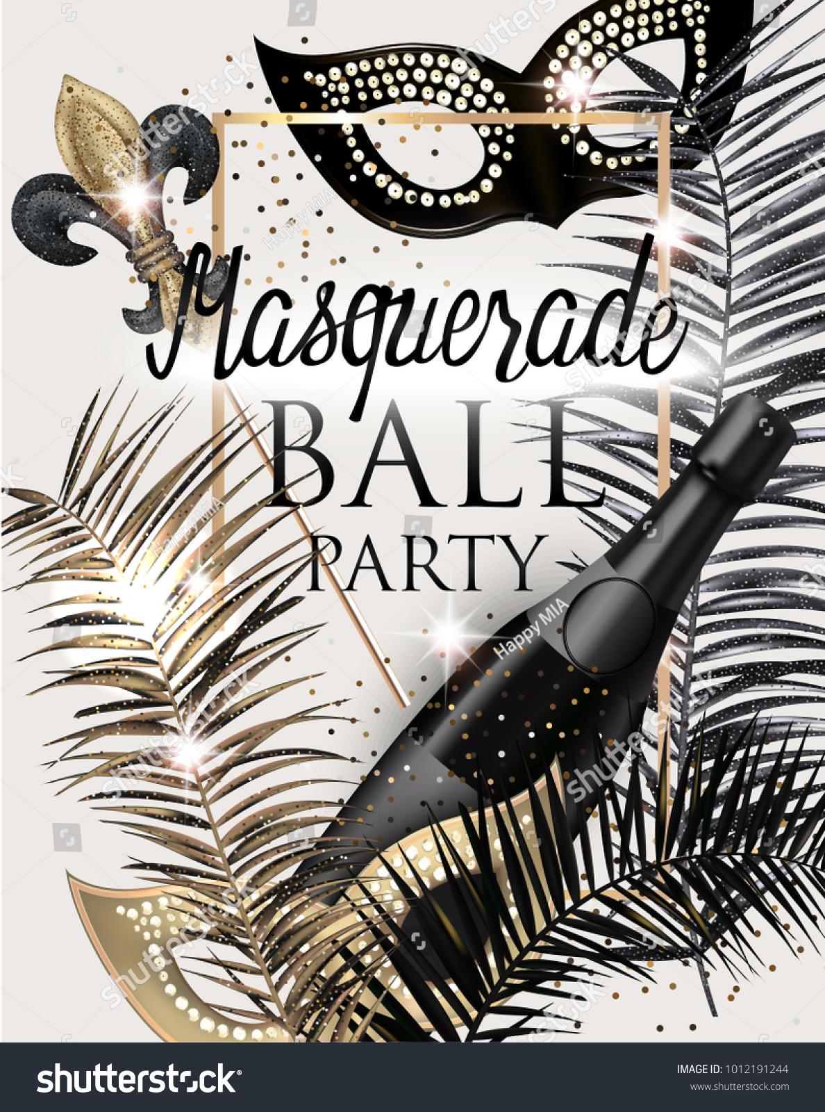 MASQUERADE PARTY INVITATION CARD CARNIVAL DECO Stock Vector HD ...