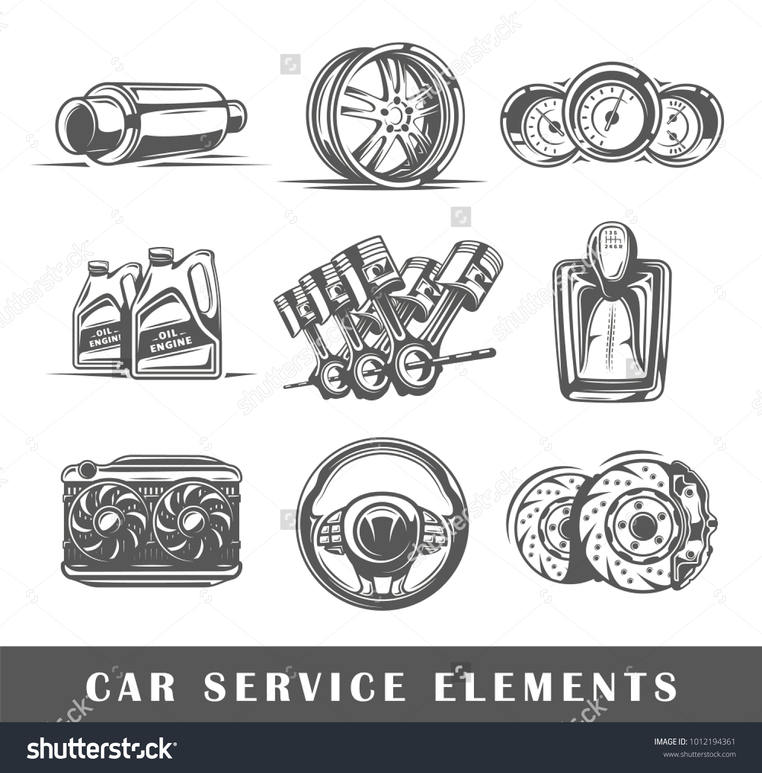 Set Elements Car Service Isolated On Stock Vector Hd Royalty Free