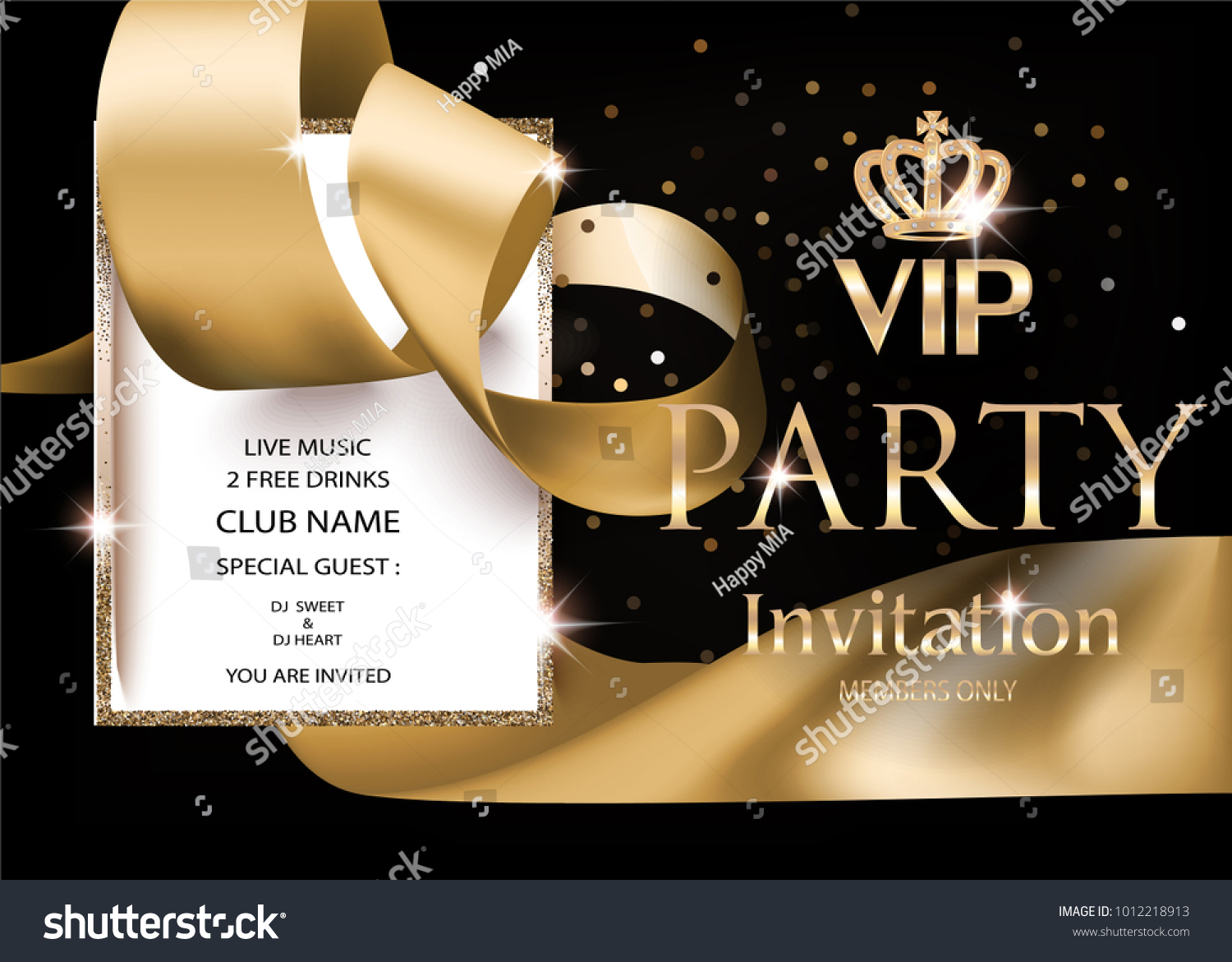 Vip Party Invitation Banner Golden Ribbon Stock Photo (Photo, Vector ...