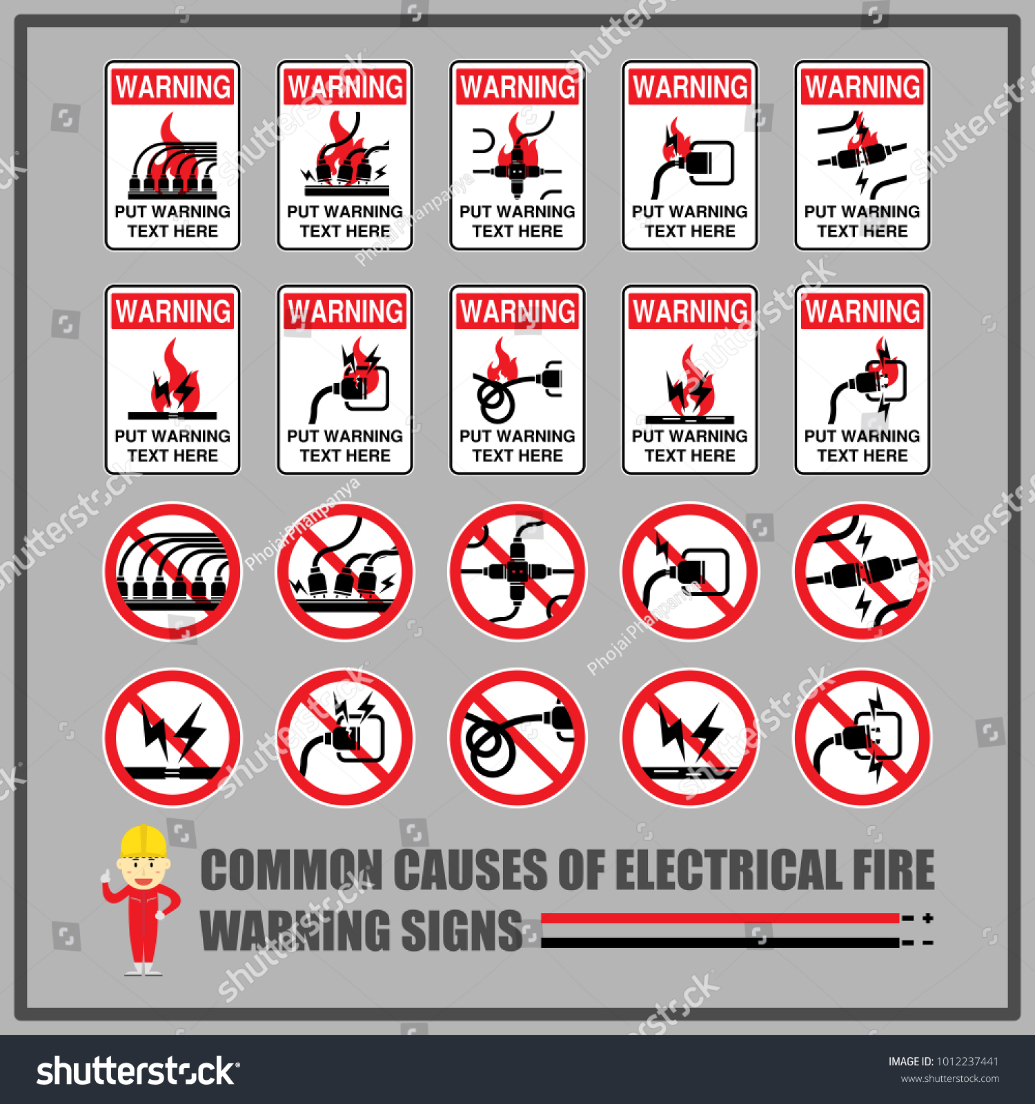 Set safety warning signs symbols causes stock vector 1012237441 set of safety warning signs and symbols for causes of common electrical fires signs for biocorpaavc