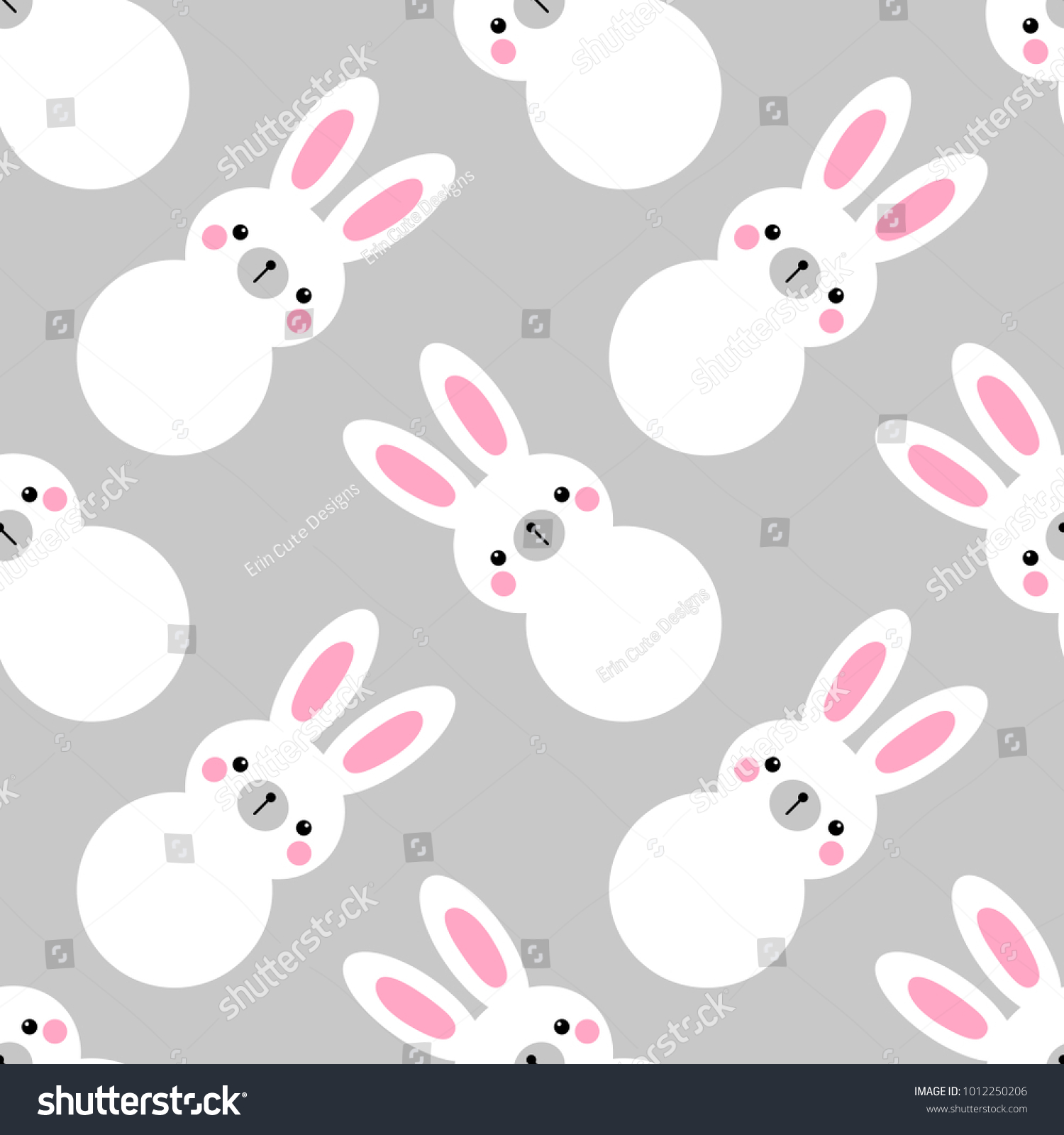 White cute rabbit and music note pattern on gradient blue background ...