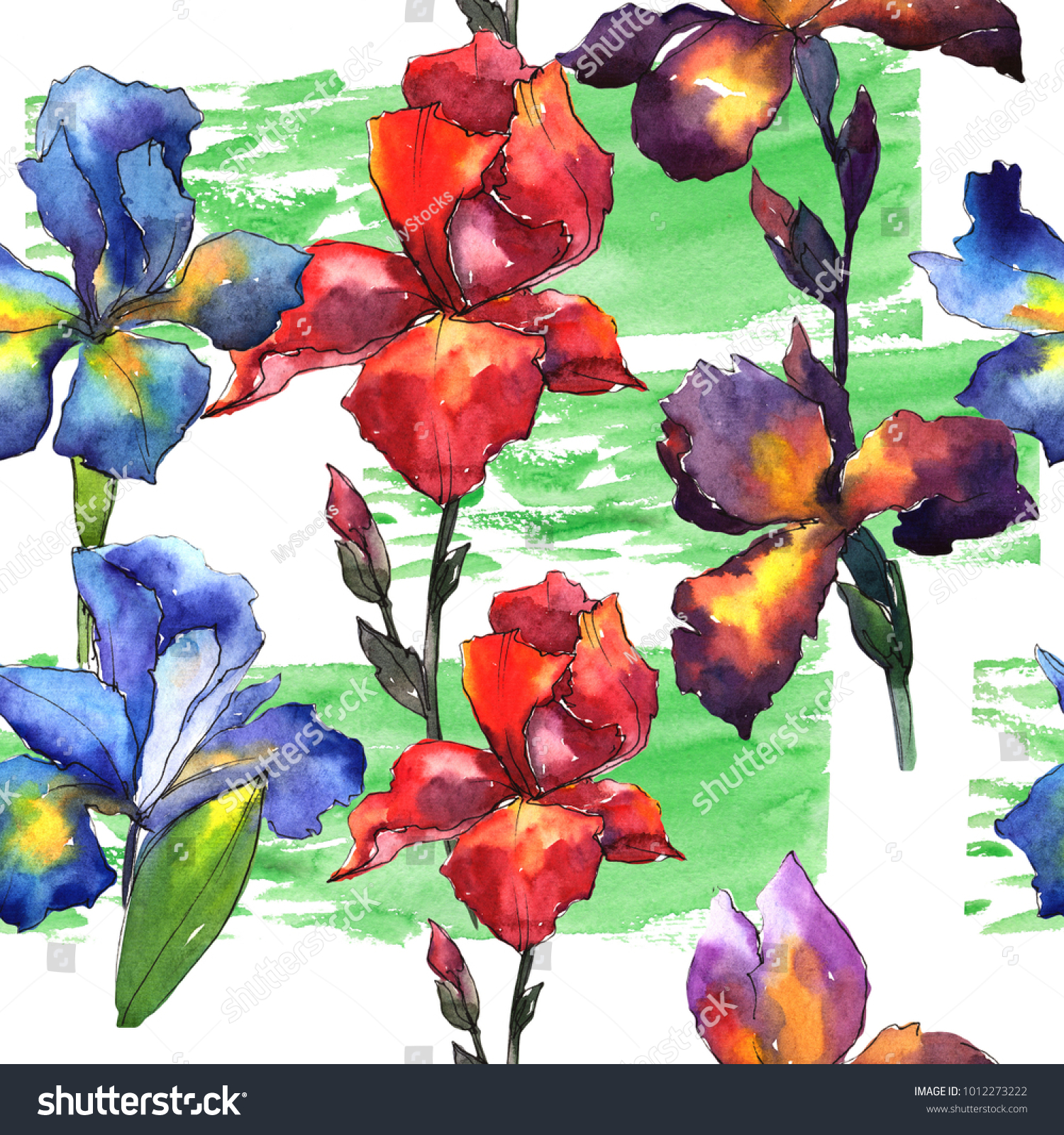 Wildflower Iris Flower Pattern Watercolor Style Stock Illustration