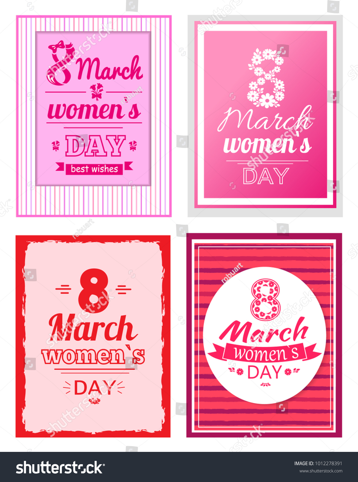 Big Set 8 March Greeting Cards Stock Vector Hd Royalty Free