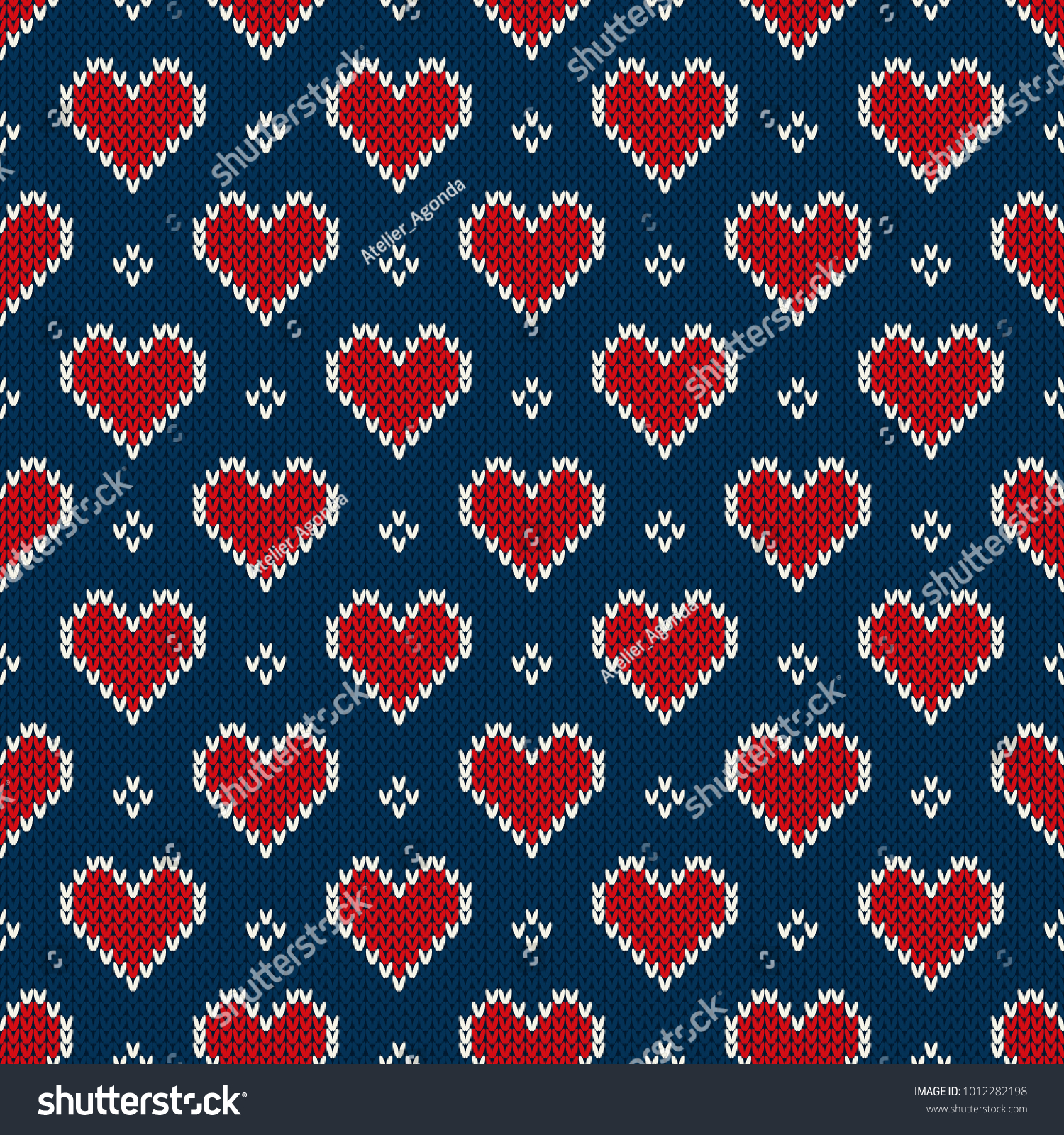 Valentines Day Holiday Seamless Knit Pattern Stock Vector 1012282198 ...