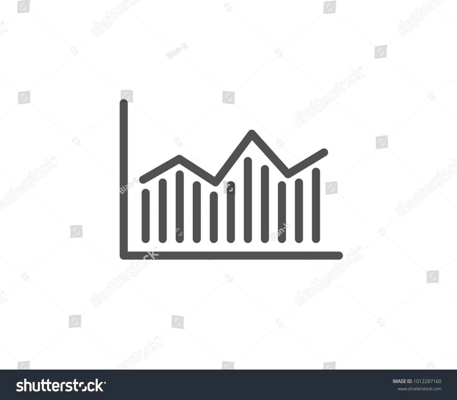 Financial Chart Line Icon Economic Graph Stock Vector Royalty Free