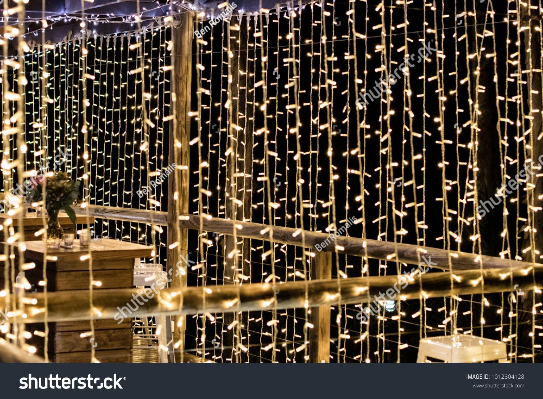 Curtains Fairy Lights Hanging Wedding Reception Stock Photo Edit