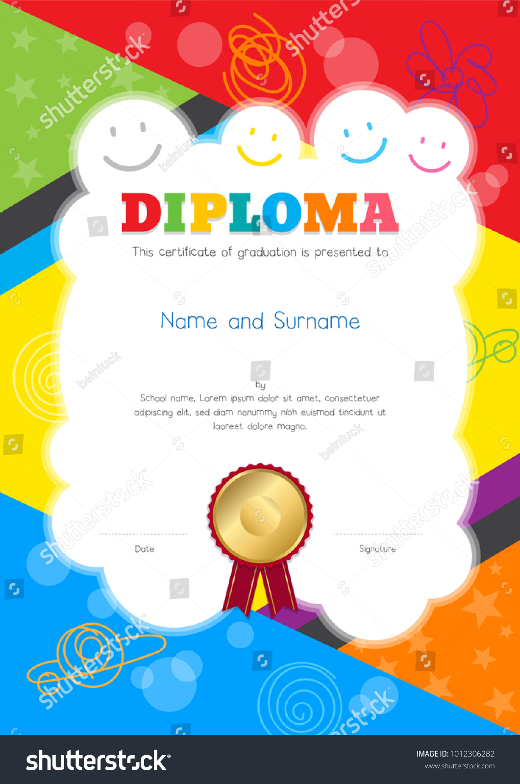 Kids summer camp diploma or cash payment template template with colorful and hand drawing background border 1012306282 kids diploma certificate template colorful hand 1012306282 kids summer camp yelopaper Image collections