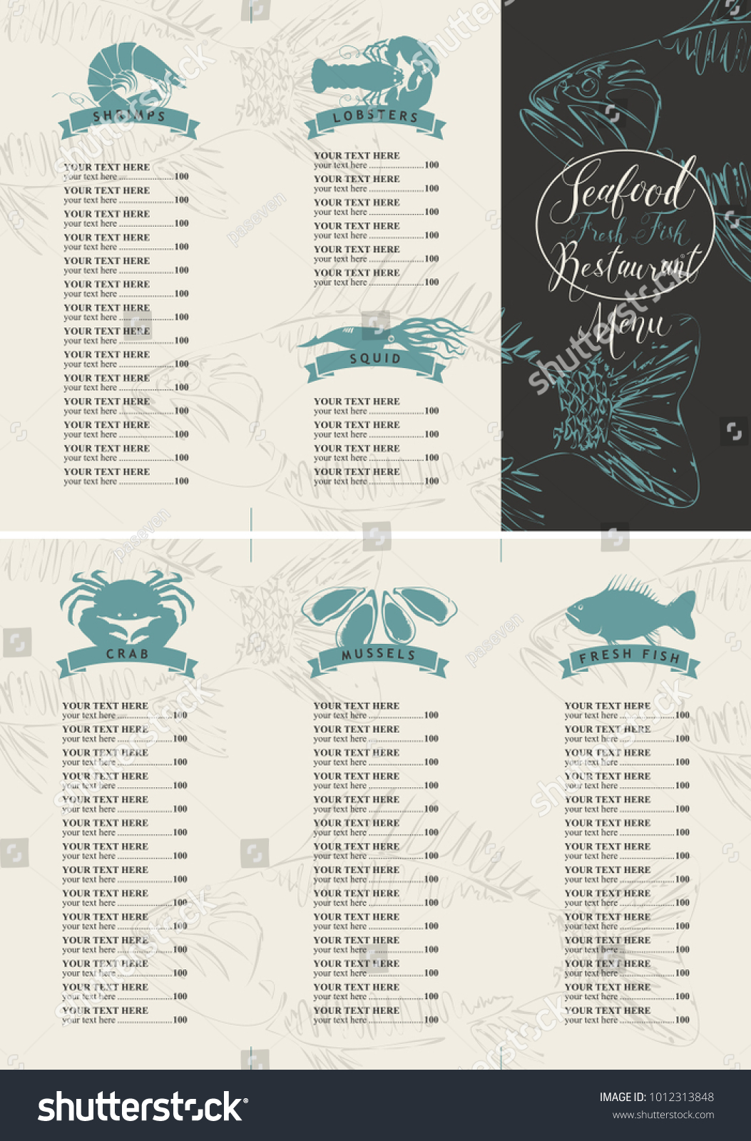 vector booklet menu price list seafood stock vector royalty free