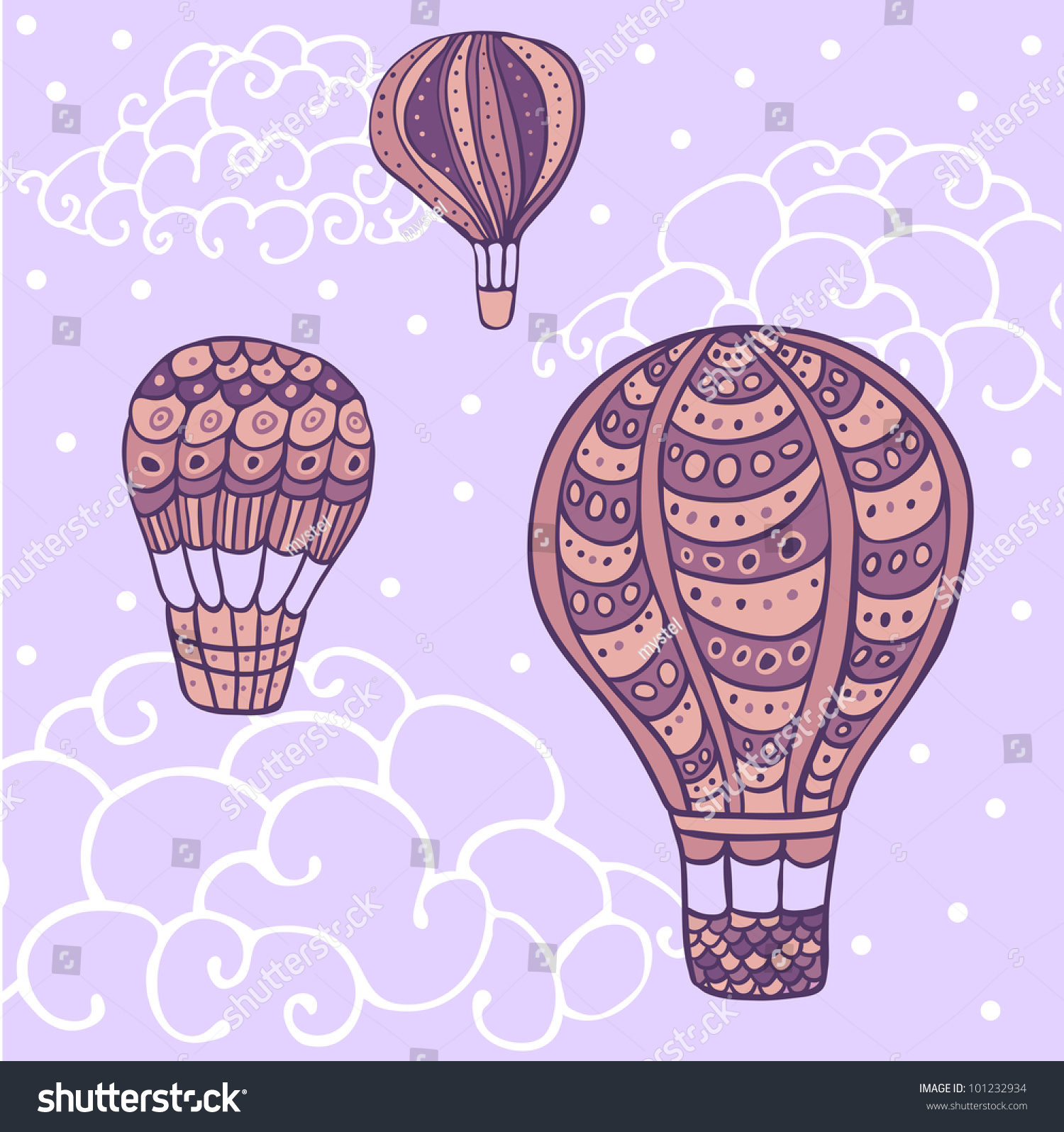 Seamless Colorful Flying Hot Air Balloon Pattern.Clipping