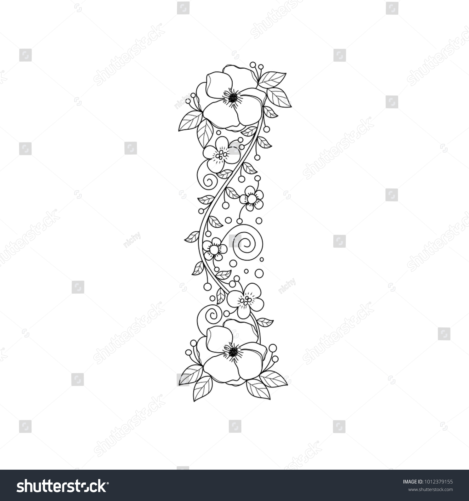 - Floral Alphabet Letter Coloring Book Adults Stock Vector (Royalty
