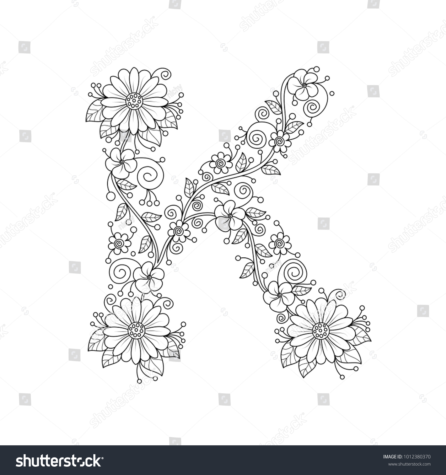 Floral Alphabet Letter K Coloring Book Stock Vector (Royalty Free ...