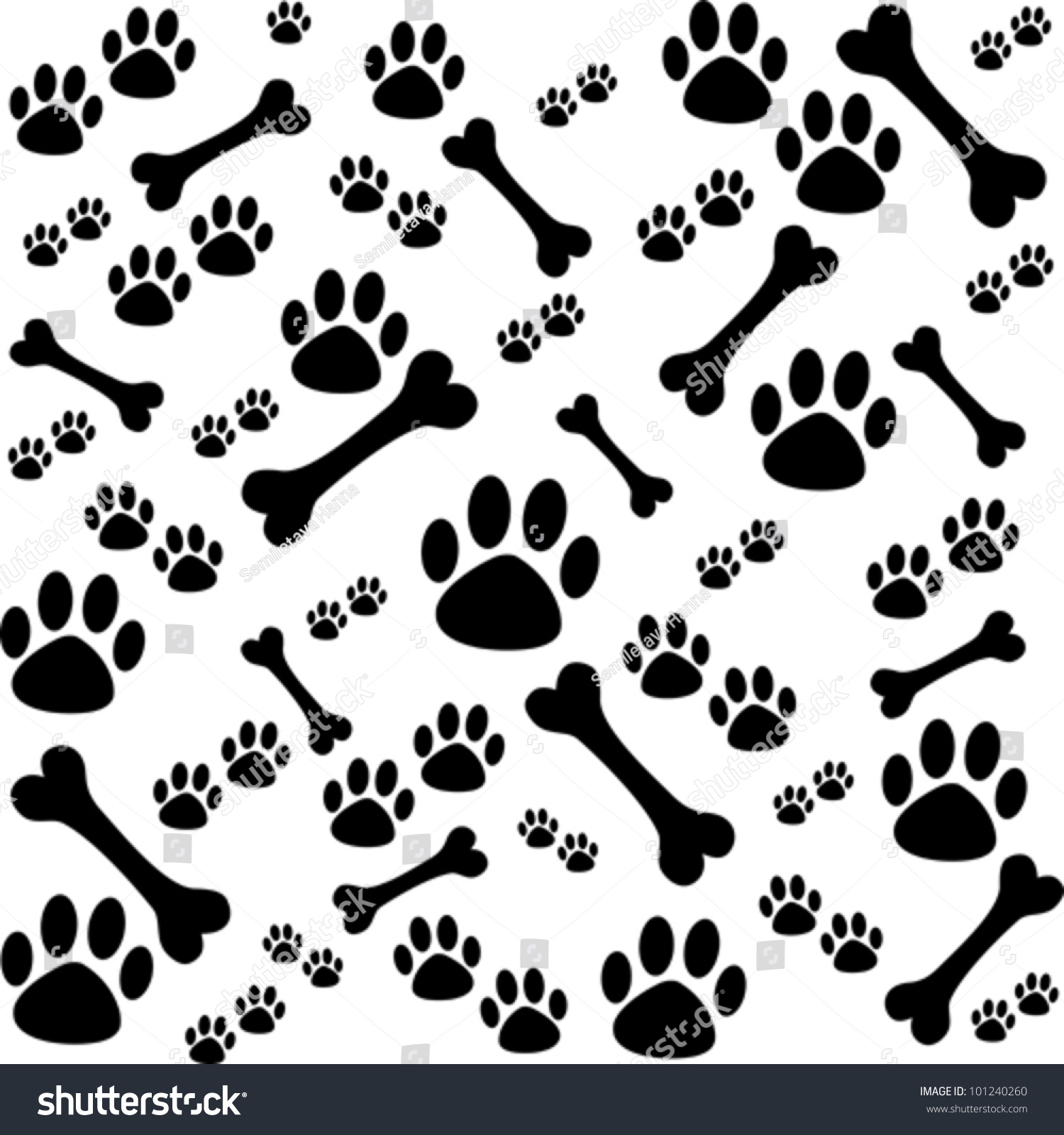Background Dog Paw Print Bone Vector Stock Vector Royalty Free