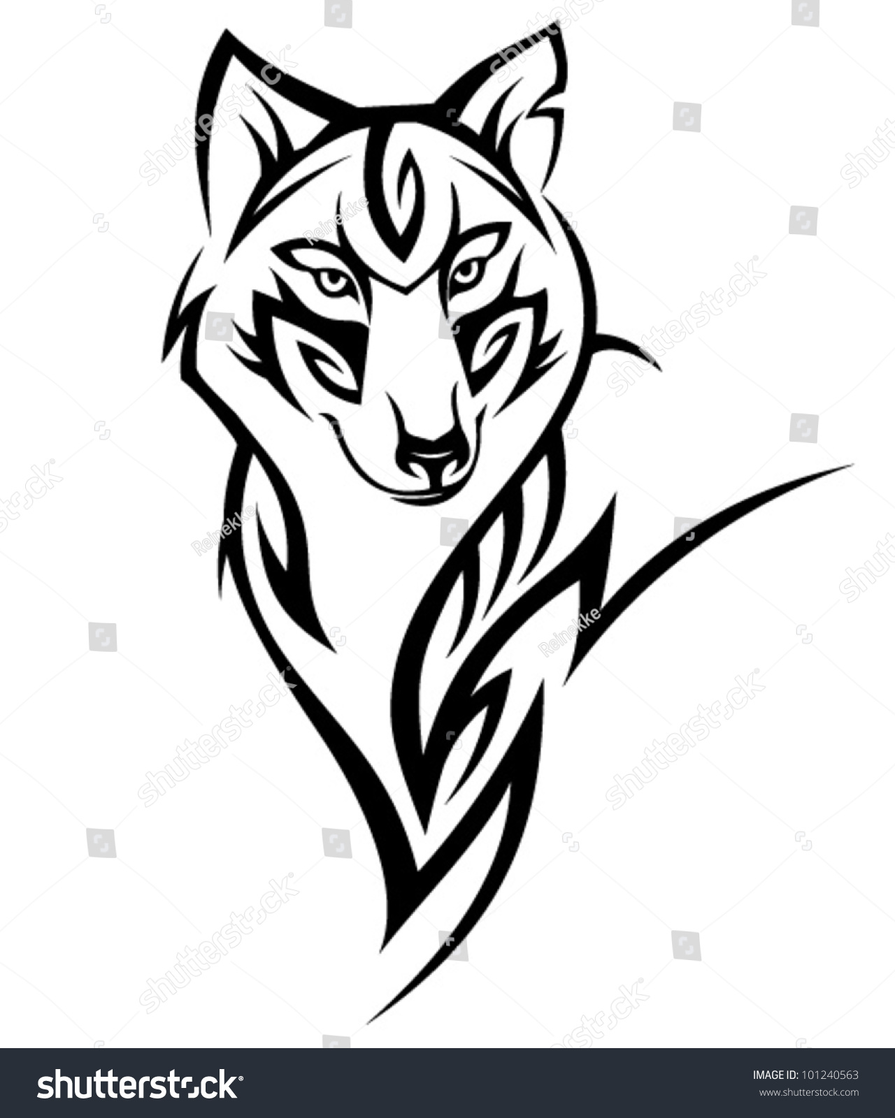 Tribal Wolf Tattoo Design Stock Vector 101240563