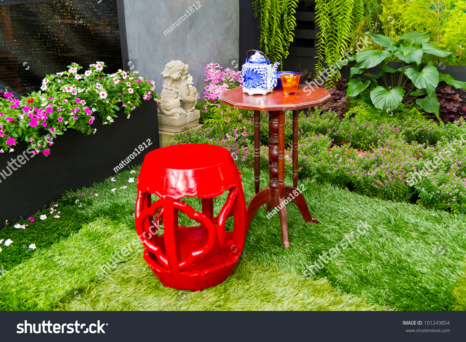 Small Garden Red Chair Decorate Chinese Stock Photo 101243854 ...
