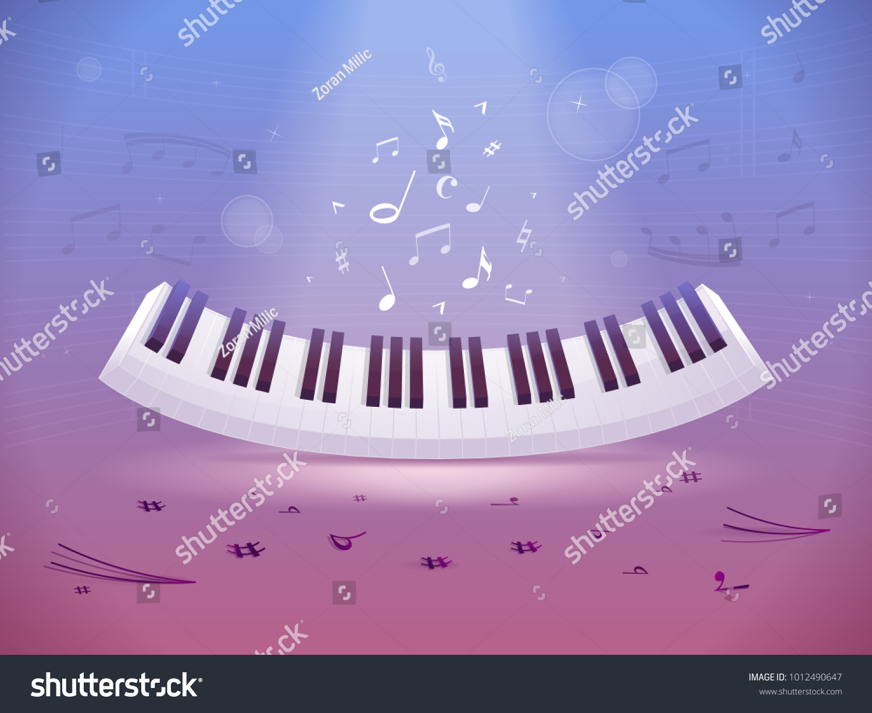 Abstract Design Piano Keyboard Music Notes Stock Vector 1012490647