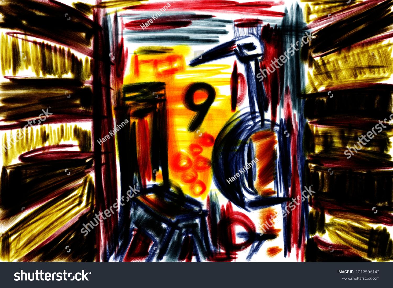 Symbolism Number Nine Japanese Crane Painting Stock Illustration