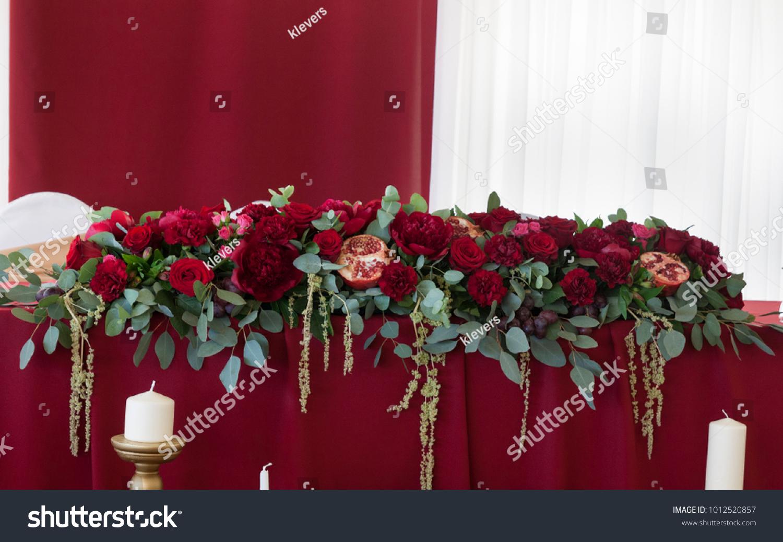 Red Flower Arrangement On Table Wedding Stock Photo Edit Now 1012520857