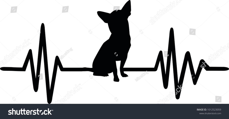 Heartbeat Line Art : Heartbeat pulse line dog chihuahua silhouette stock vector