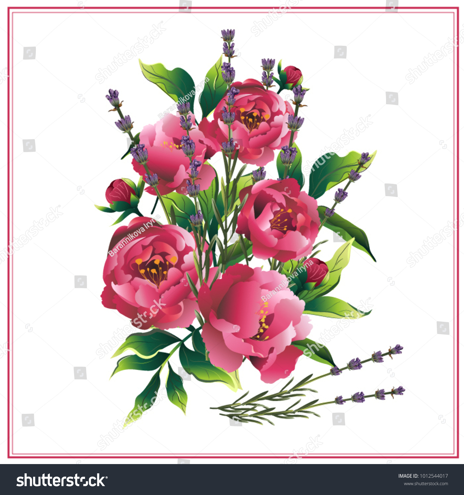 Peonies Lavender Flower Bouquet Greeting Card Stock Vector ...