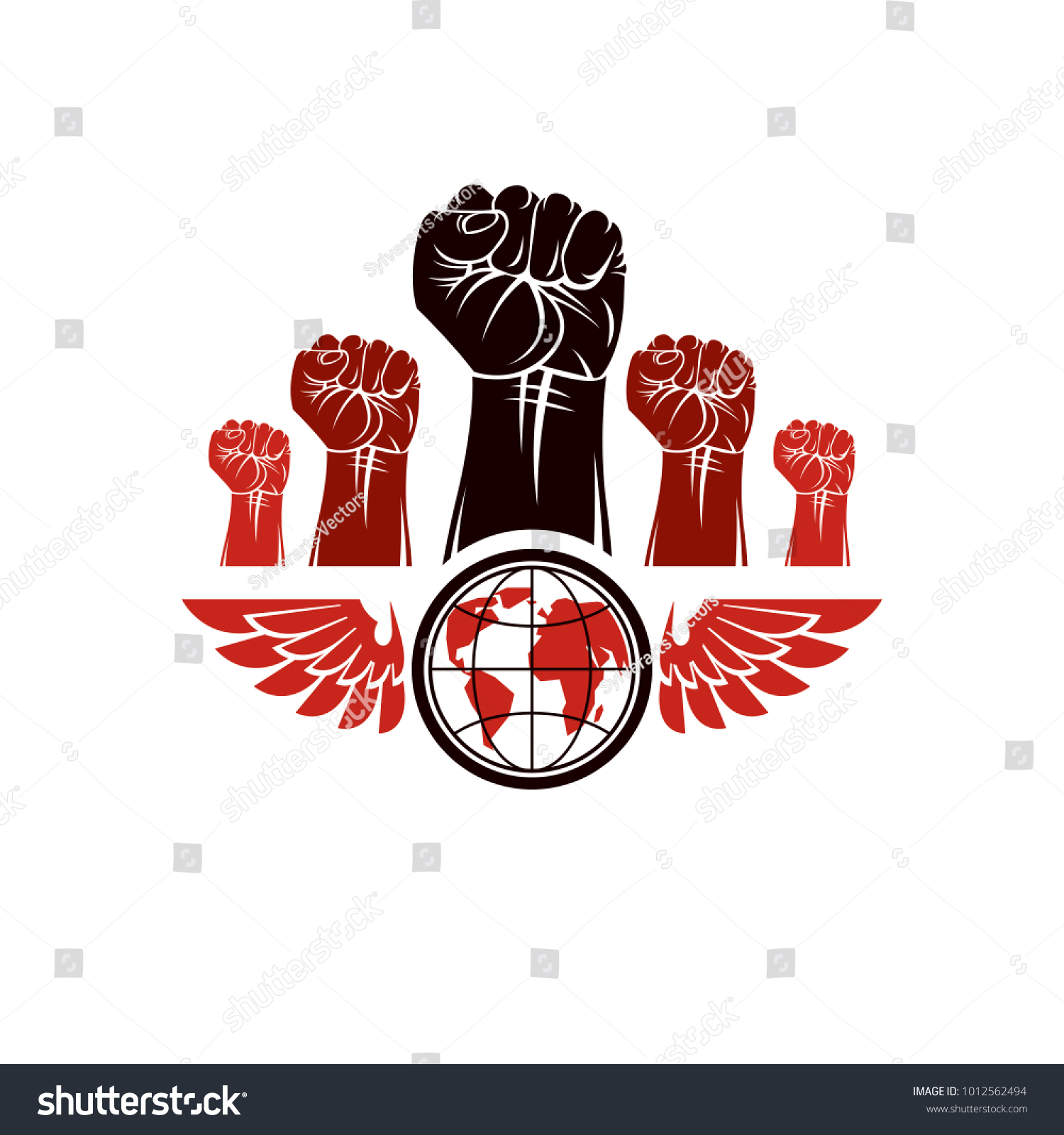 Clenched fists angry people winged vector stock vector 1012562494 clenched fists of angry people winged vector emblem composed with earth globe symbol civil war biocorpaavc