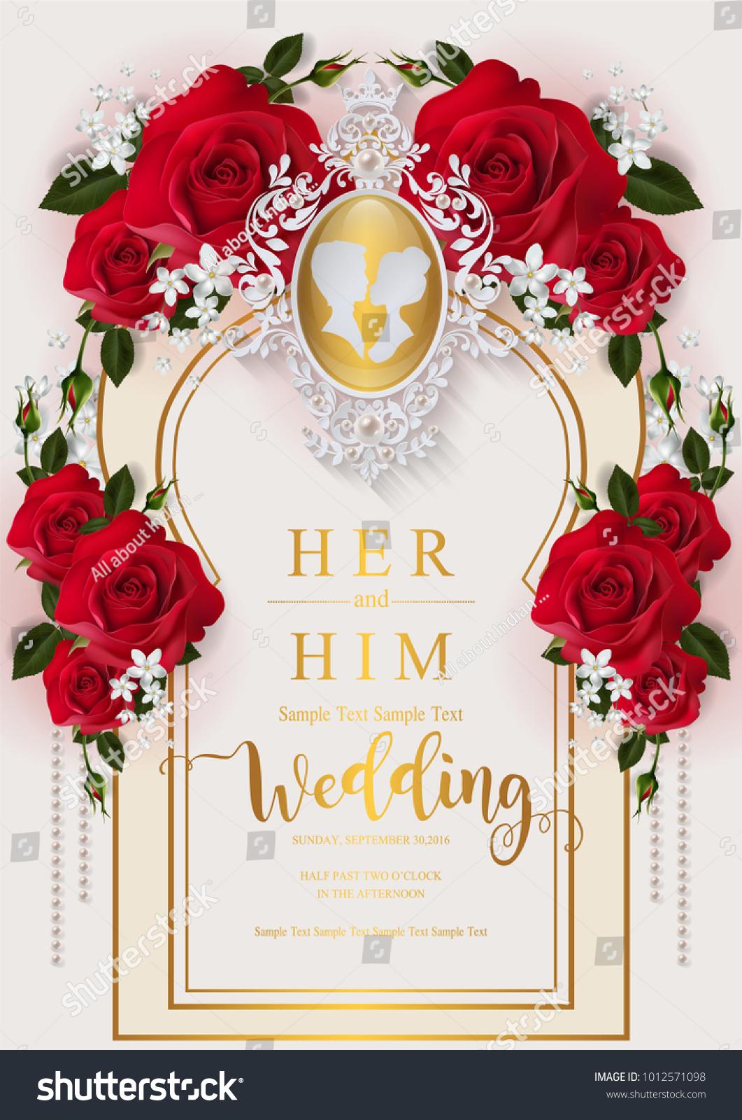 Wedding Invitation Card Templates Valentines Day Stock Vector ...