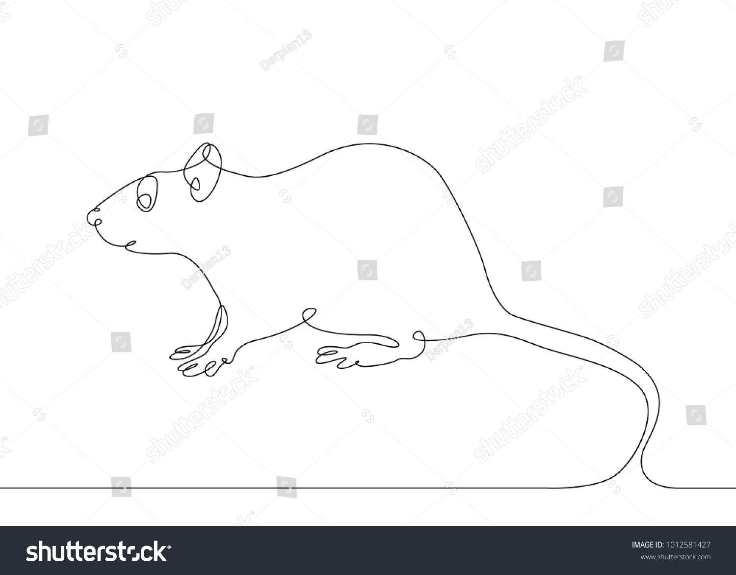 Line Drawing Rat : Continuous one line drawing rat mouse stock photo vector
