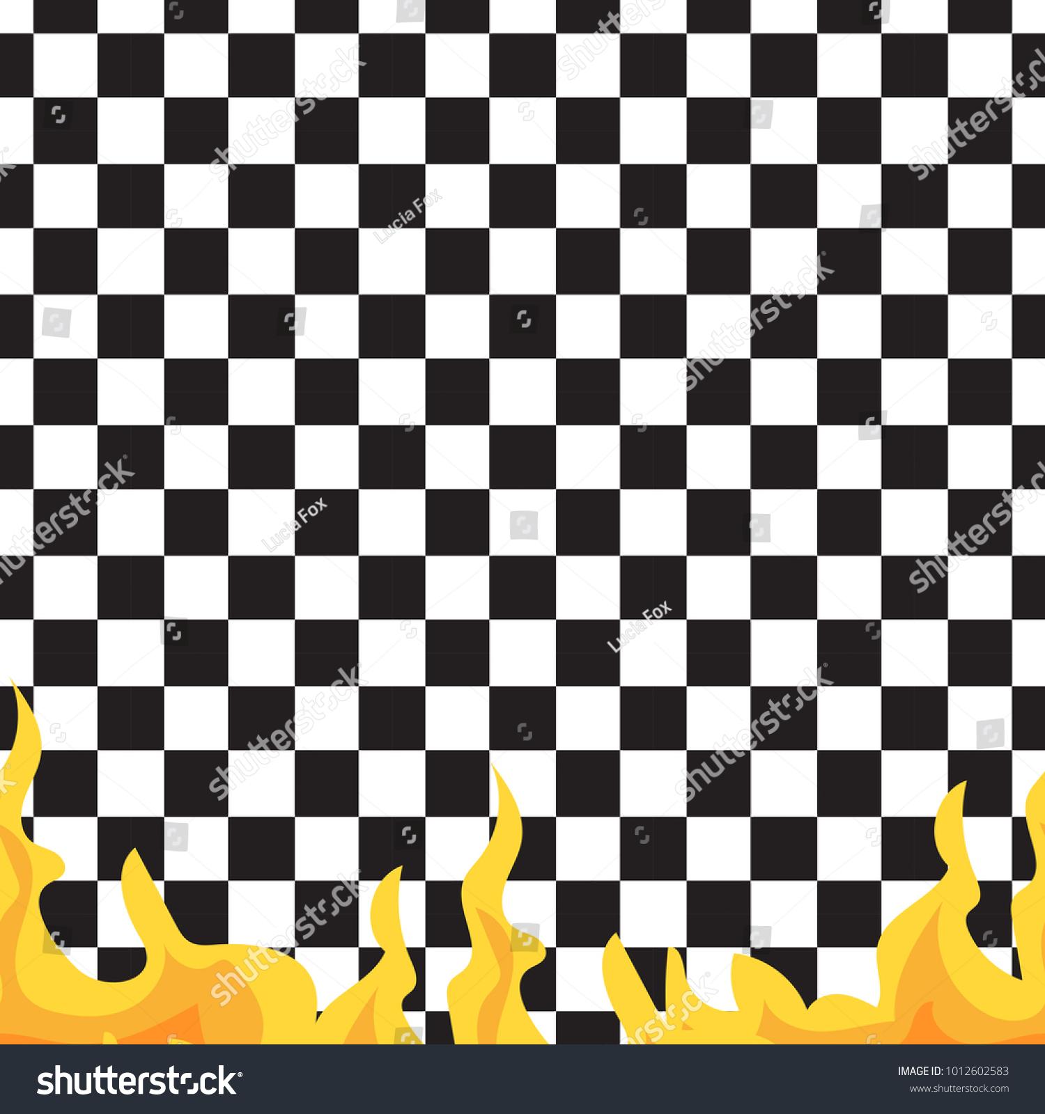 Chessboard Fire Seamless Pattern Black White Stock Vector Royalty