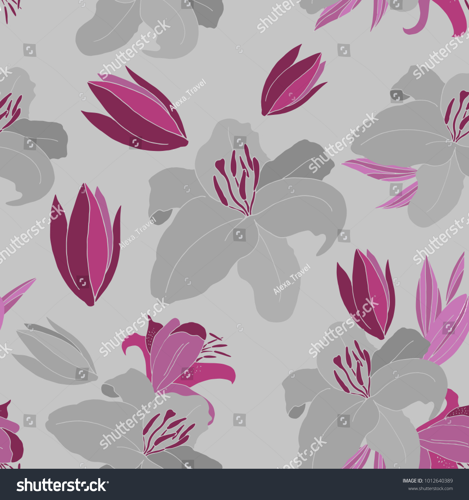 Seamless vector pattern lily flower simple stock vector 1012640389 seamless vector pattern with lily flower simple background for your designs print textile izmirmasajfo