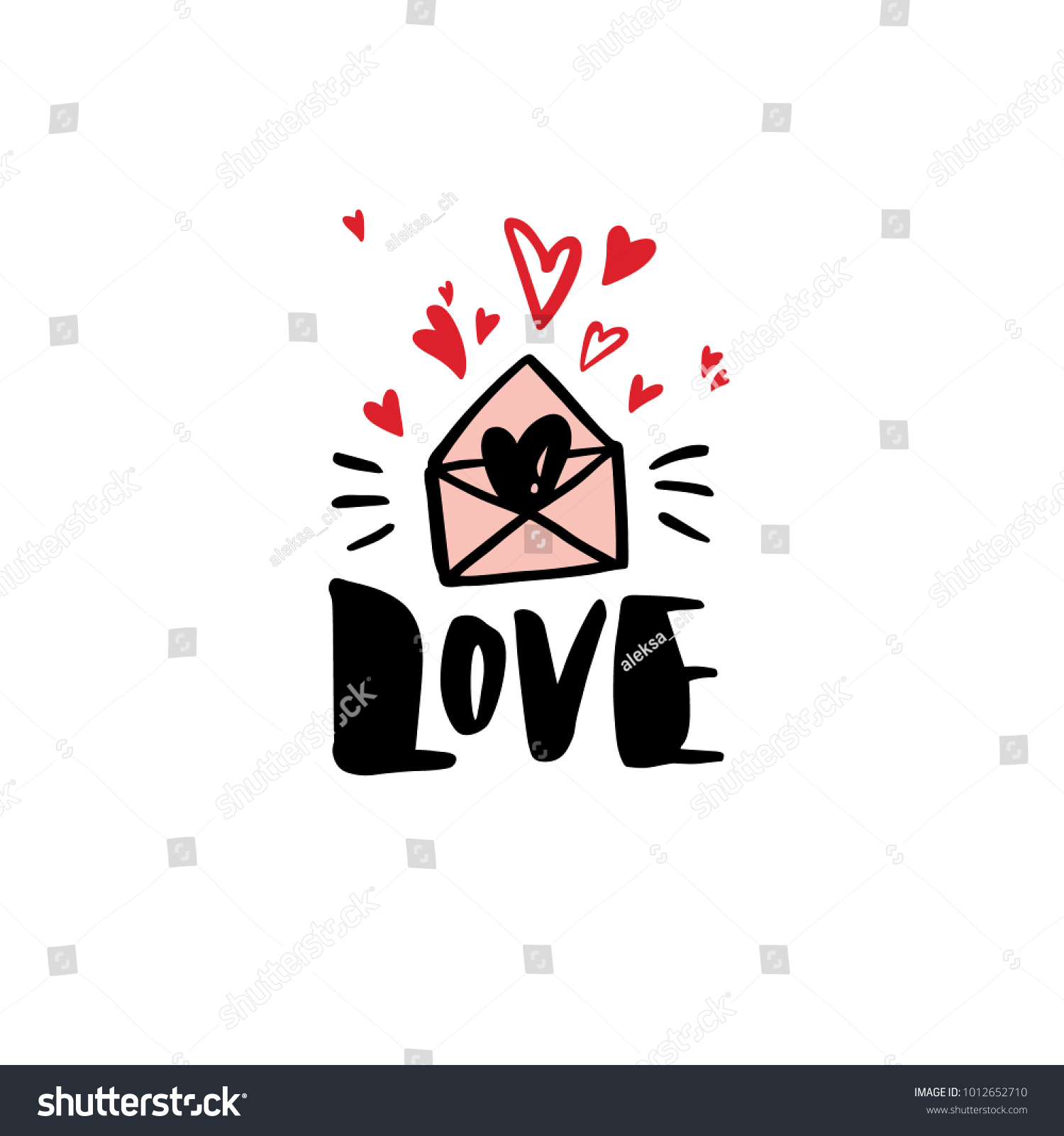 Love Greeting Card Template With The Word Love Valentines Day Greeting Card In Modern