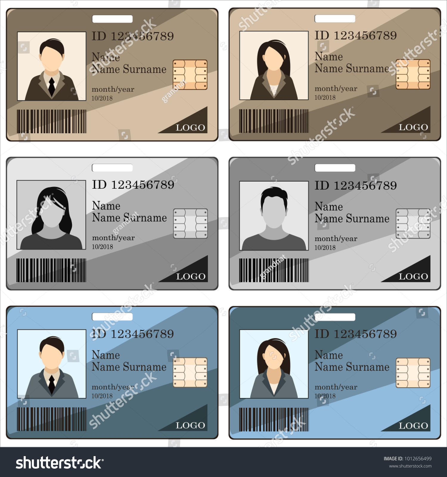 Templates ID Cards Badges Men Women Stock Vector 1012656499 ...