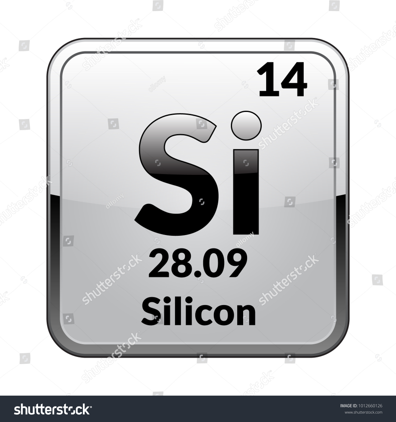 Silicon Symbolemical Element Of The Periodic Table On A Glossy