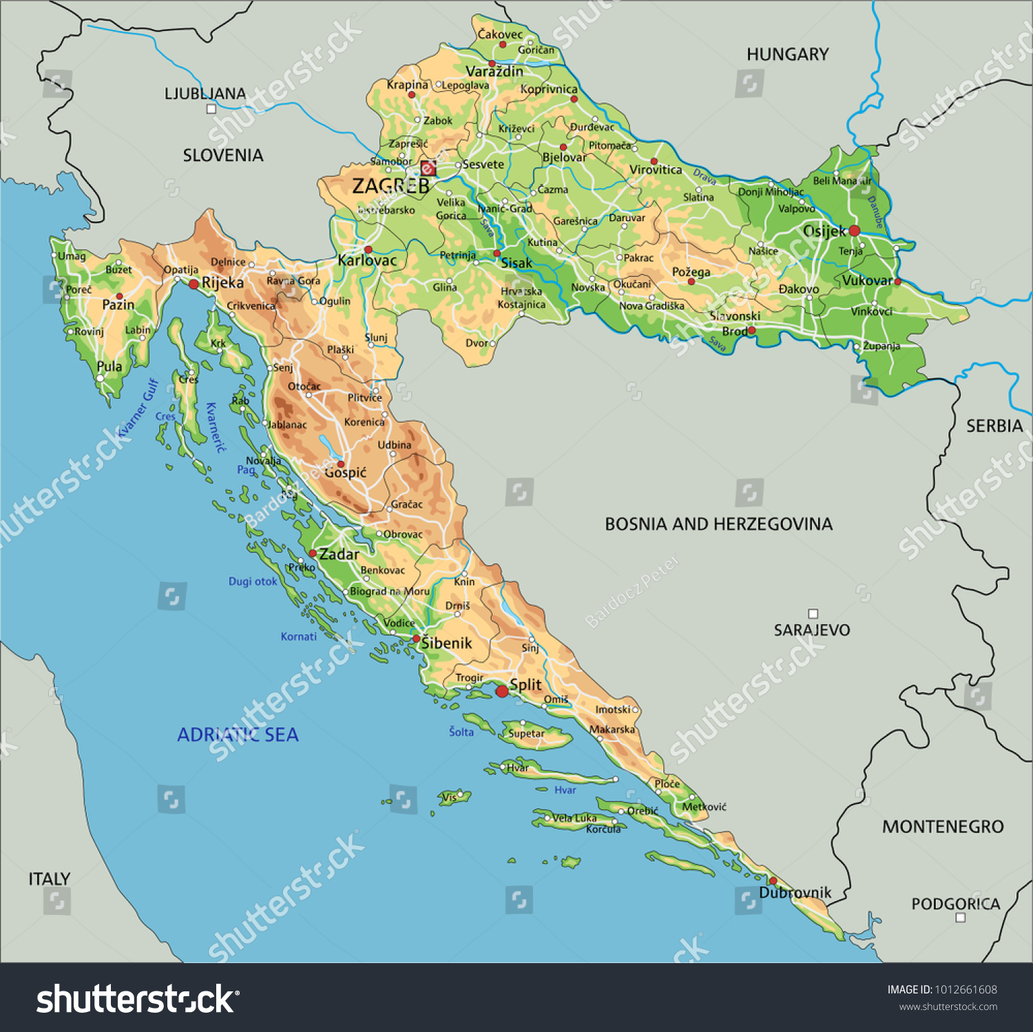 High Detailed Croatia Physical Map Labeling Stock Vector 1012661608