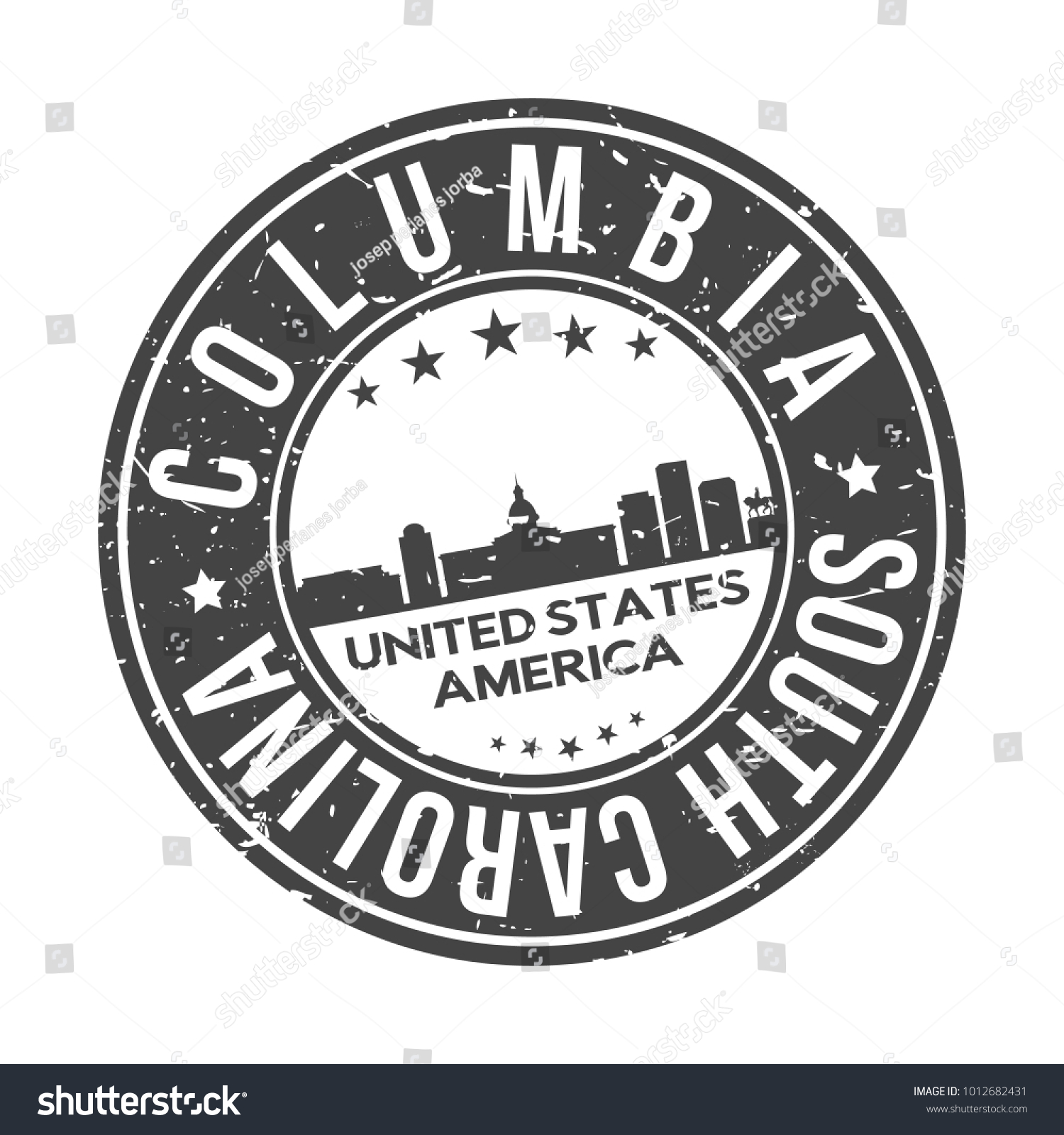 Columbia South Carolina Usa Stamp Logo Stock Vector Royalty Free
